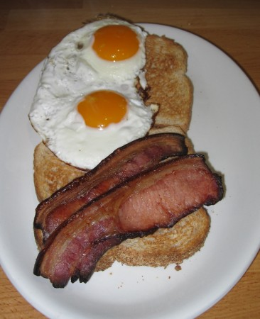 Bacon - ready to eat. Thanks Merilyn for the eggs!