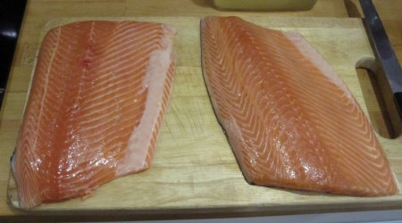Salmon Fillets ready to be carved up into portions for brining. Each is about 800g